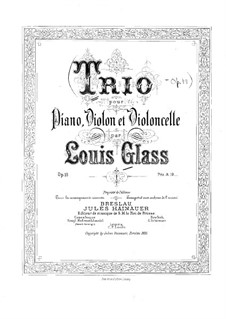 Klaviertrio in e-Moll, Op.19: Vollpartitur by Louis Glass