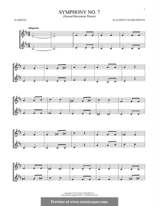 Teil II: Theme. Version for two clarinets by Ludwig van Beethoven