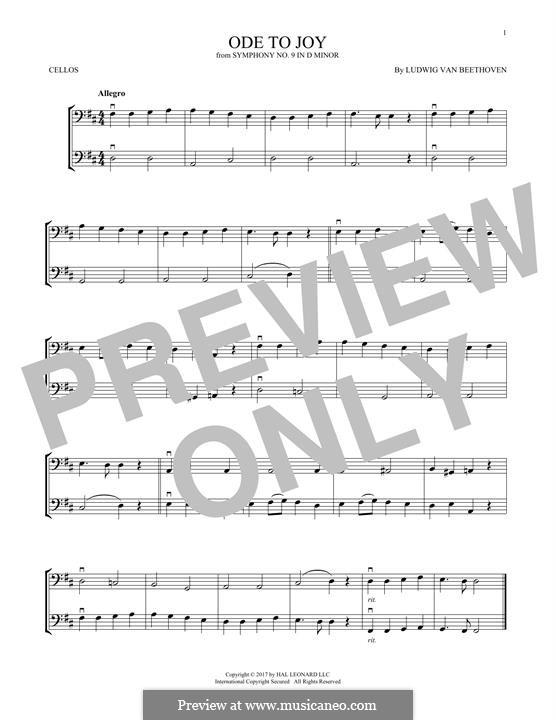 Ode an die Freude: Version for two violins by Ludwig van Beethoven
