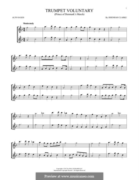 Prince of Denmark's March (Trumpet Voluntary), printable scores: For two alto saxophones by Jeremiah Clarke