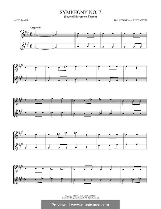 Teil II: Theme. Version for two alto saxophones by Ludwig van Beethoven
