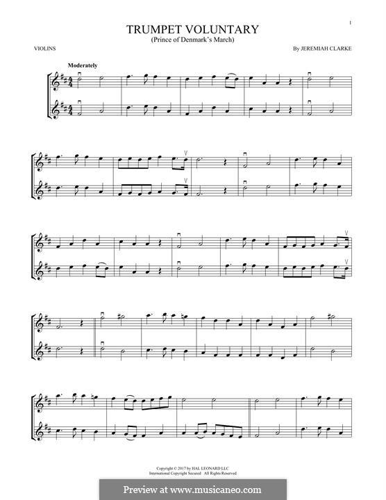 Prince of Denmark's March: Für zwei Violinen by Jeremiah Clarke