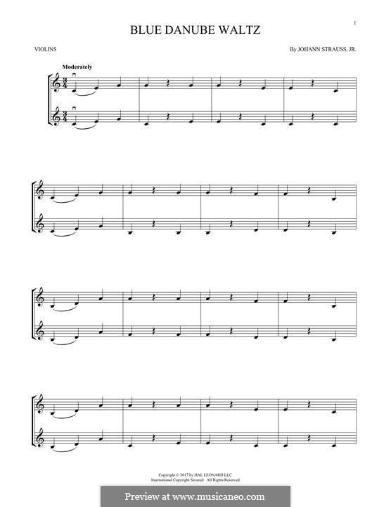 An der schönen blauen Donau, Op.314: Für zwei Violinen by Johann Strauss (Sohn)