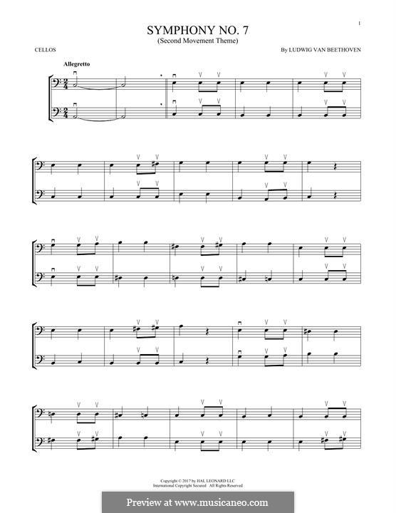 Teil II: Theme. Version for two violins by Ludwig van Beethoven