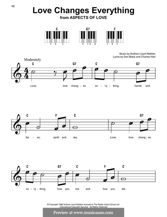 Love Changes Everything: For easy piano with lyrics by Andrew Lloyd Webber