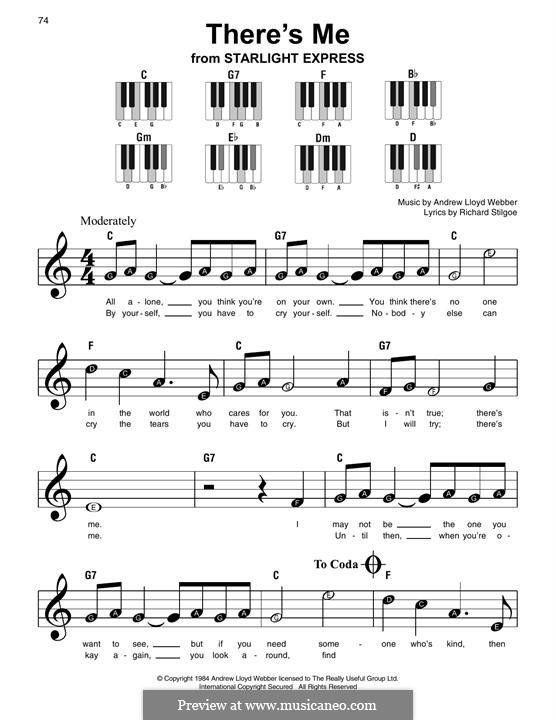 There's Me: For easy piano with lyrics by Andrew Lloyd Webber