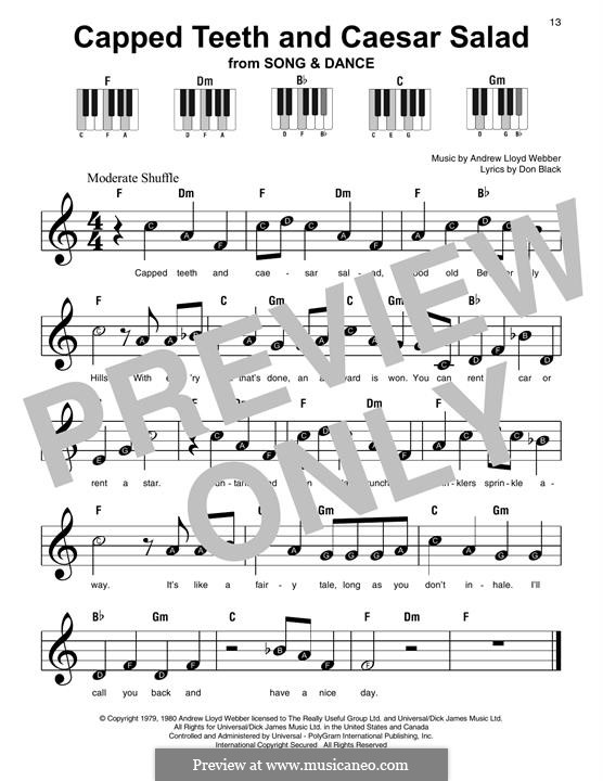 Capped Teeth and Caesar Salad: For easy piano with lyrics by Andrew Lloyd Webber