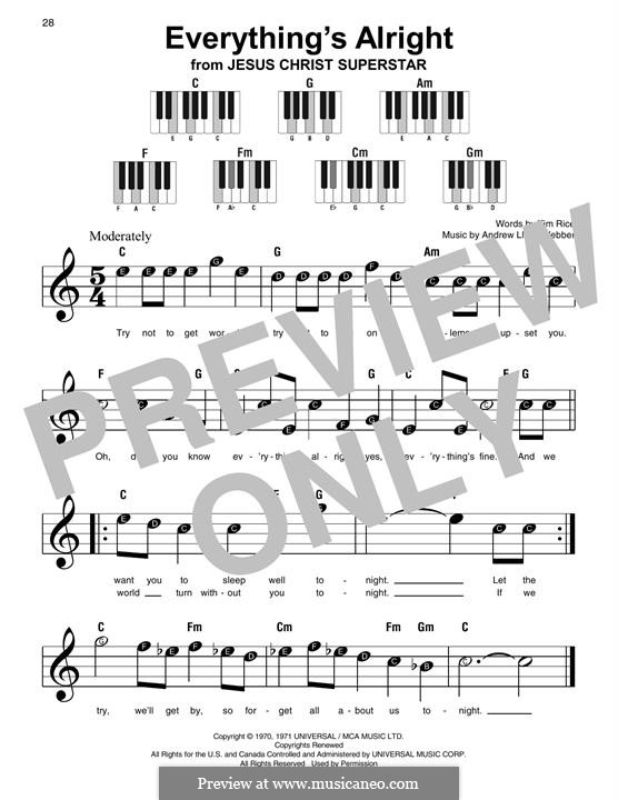 Everything's Alright: For easy piano with lyrics by Andrew Lloyd Webber
