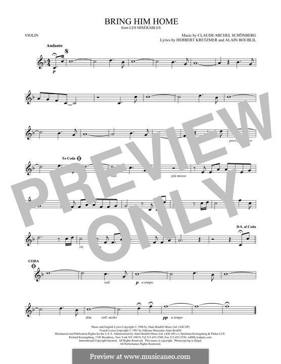 Bring Him Home: Für Violine by Claude-Michel Schönberg