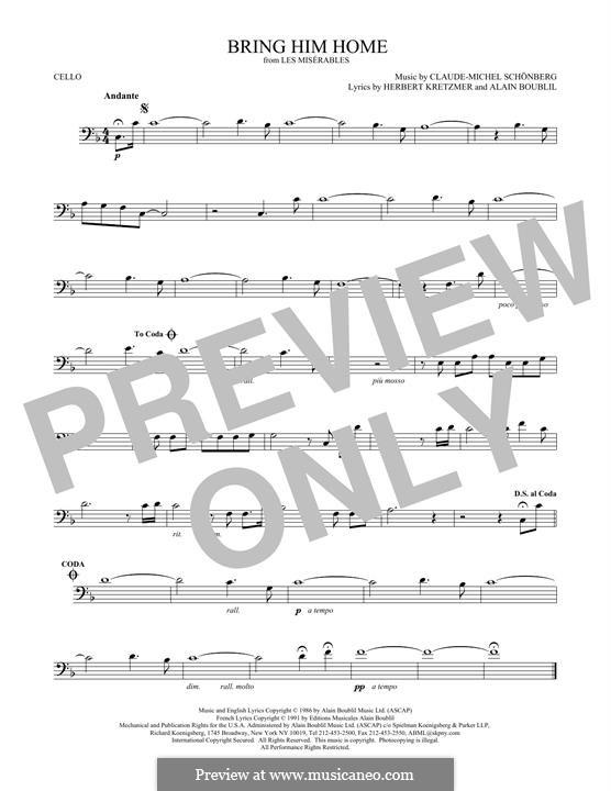 Bring Him Home: Für Cello by Claude-Michel Schönberg