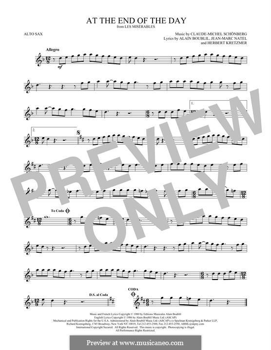 At the End of the Day: Für Altsaxophon by Claude-Michel Schönberg