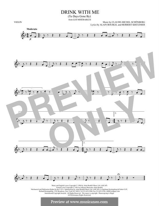 Drink With Me (To Days Gone By): Für Violine by Claude-Michel Schönberg