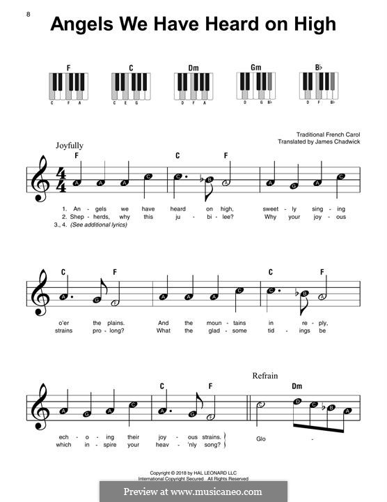 Angels We Have Heard on High, for Piano: Easy version by folklore