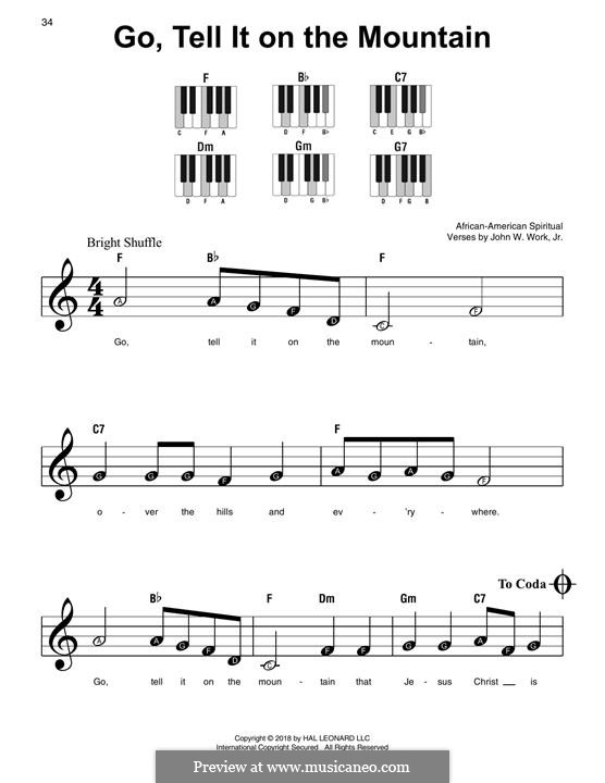 Go, Tell it on the Mountain (Printable Scores): Für Klavier, leicht by folklore