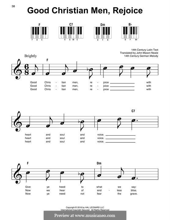 Good Christian Men, Rejoice: Für Klavier, leicht by folklore