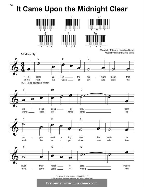 It Came upon the Midnight Clear, for Piano: Easy version by Richard Storrs Willis