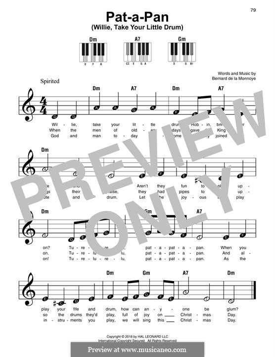 Pat-a-Pan (Willie, Take Your Little Drum): Für Klavier, leicht by Bernard de la Monnoye