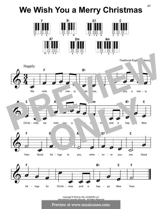 We Wish You a Merry Christmas, for Piano: Easy version by folklore