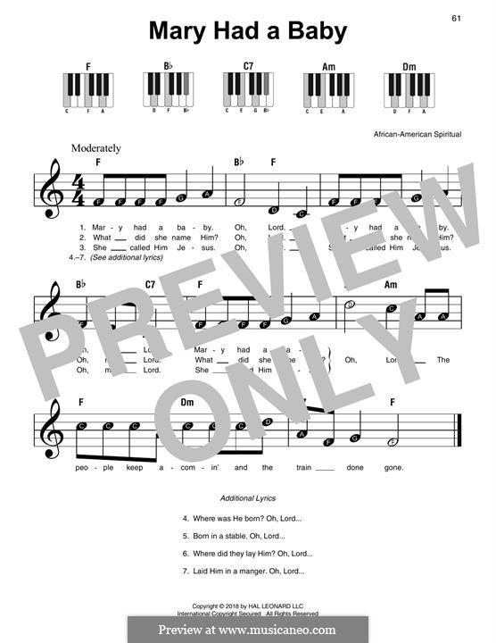 Mary Had a Baby: Für Klavier, leicht by folklore