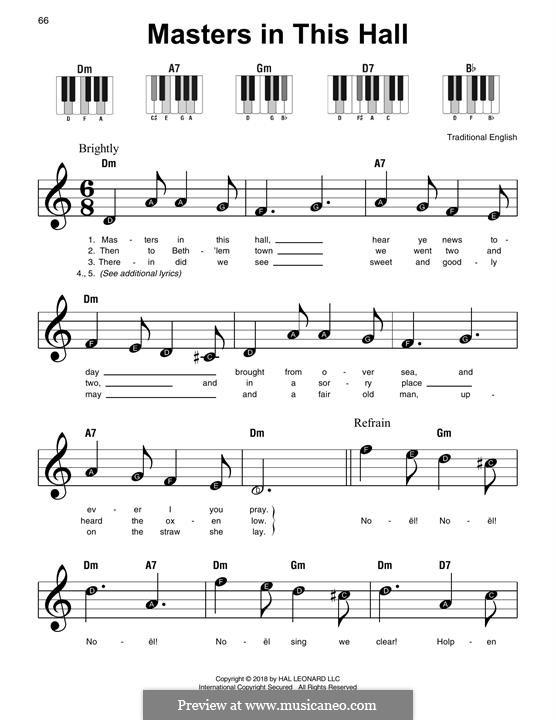 Masters in This Hall: Für Klavier, leicht by folklore