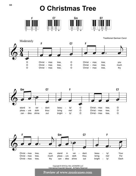 O Tannenbaum, für Klavier: Easy version by folklore