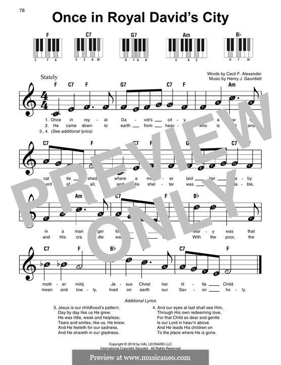Einst in der königlichen Stadt David: Für Klavier, leicht by Henry John Gauntlett