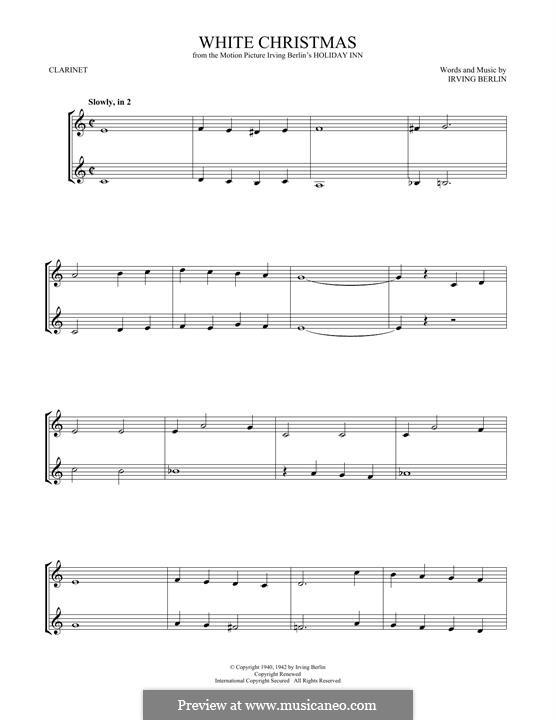 White Christmas. Instrumental version: Für Klarinette by Irving Berlin
