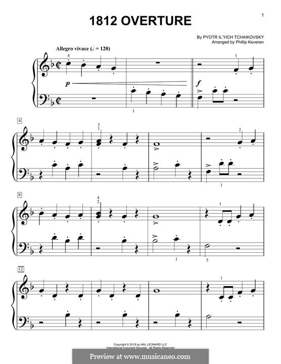 1812. Festliche Ouvertüre, TH 49 Op.49: Theme, for easy piano by Pjotr Tschaikowski