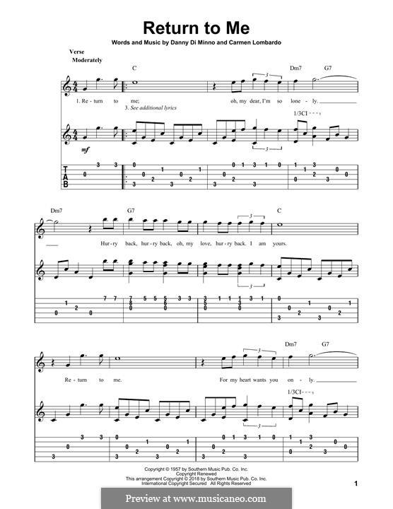 Return To Me (Dean Martin): Für Gitarre mit Tabulatur by Carmen Lombardo, Danny Di Minno