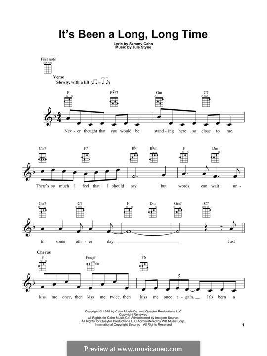It's Been a Long, Long Time: Für Ukulele by Jule Styne