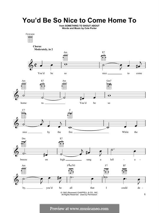 You'd Be So Nice to Come Home to: Für Ukulele by Cole Porter