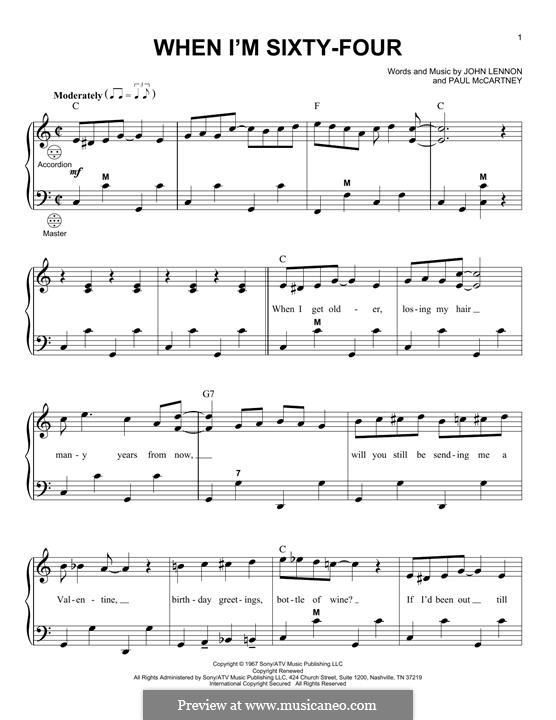 When I'm Sixty-Four (The Beatles), for One Instrument: Für Akkordeon by John Lennon, Paul McCartney
