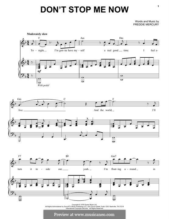 Don't Stop Me Now (Queen): Für Stimme und Klavier by Freddie Mercury