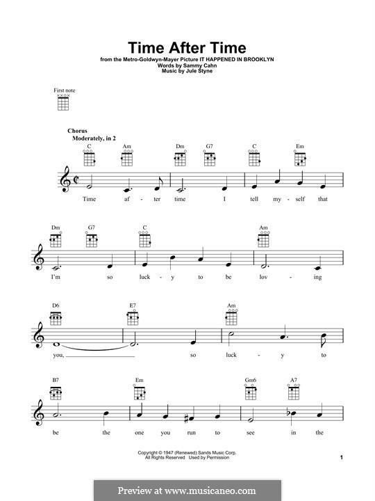 Time After Time (Frank Sinatra): Für Ukulele by Jule Styne