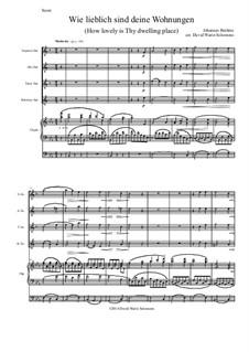 Ein deutsches Requiem, Op.45: Movement IV, for saxophone quartet and organ by Johannes Brahms