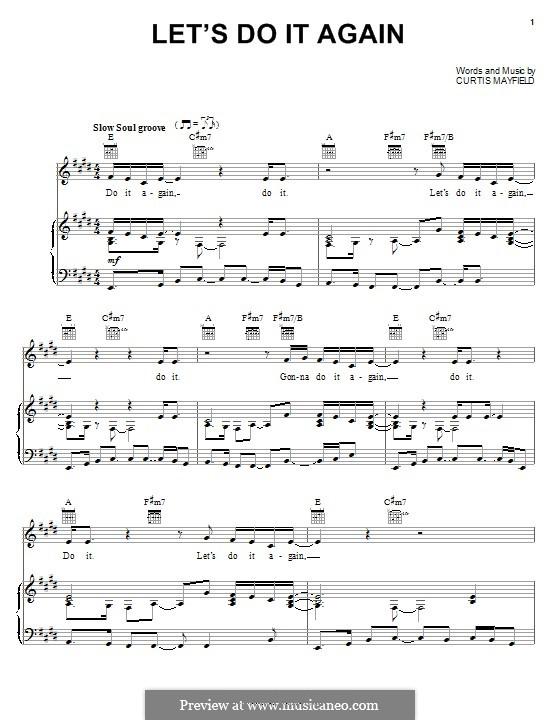 Let's Do It Again (The Staple Singers): Für Stimme und Klavier (oder Gitarre) by Curtis Mayfield
