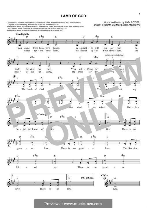 Lamb of God: Melodische Linie by Jason David Ingram, Meredith Andrews, Andi Rozier