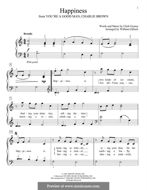 Happiness: Für Klavier, leicht by Clark Gesner