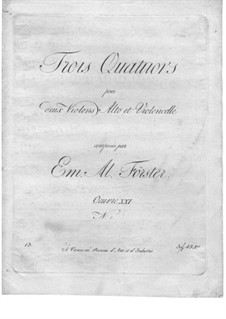 Streichquartette, Op.21: Violine I- und Cellostimmen by Emanuel Aloys Förster