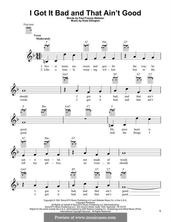 I Got It Bad and That Ain't Good: Für Ukulele by Duke Ellington