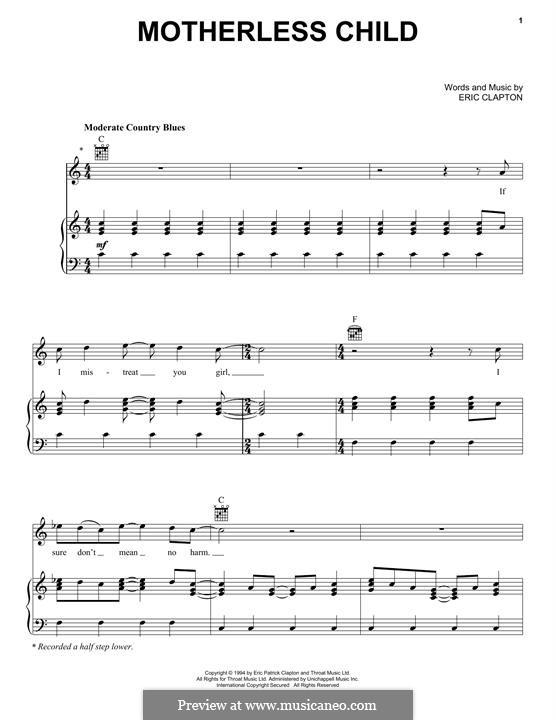 Motherless Child: Für Stimme und Klavier (oder Gitarre) by Carl Radle, Eric Clapton