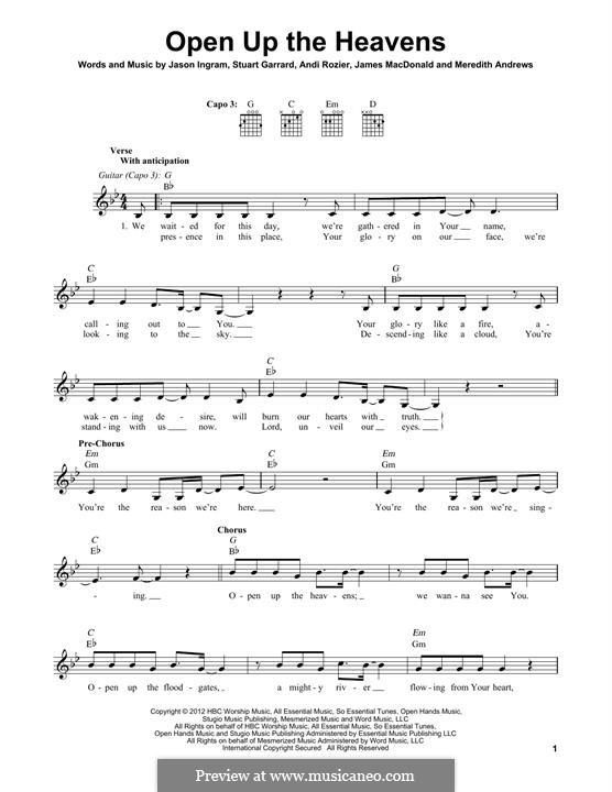 Open Up the Heavens: Für Gitarre mit Tabulatur by Jason David Ingram, Meredith Andrews, Stuart Garrard, Andi Rozier, James MacDonald