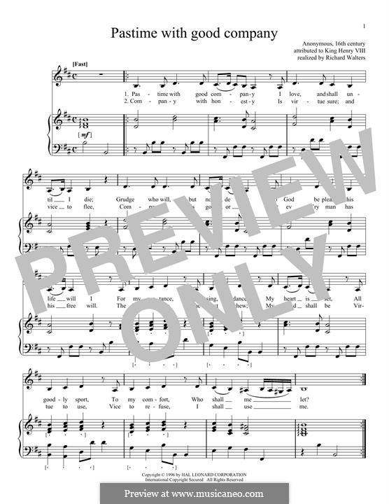 Pastime with Good Company: Für Stimme und Klavier by Henry VIII
