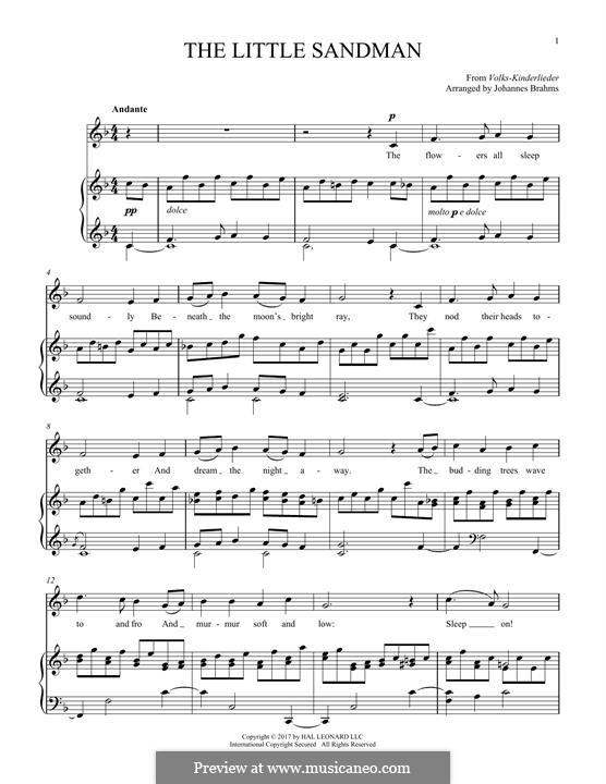 Volkskinderlieder, WoO 31: No.4 Sandmännchen (The Little Sandman) by Johannes Brahms