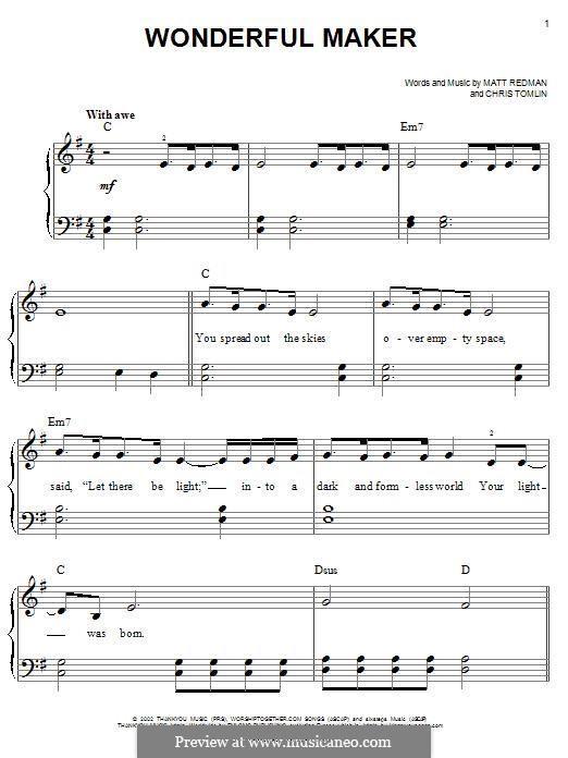 Wonderful Maker: Für Klavier by Chris Tomlin, Matt Redman