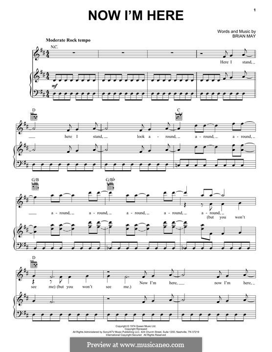 Now I'm Here (Queen): Für Stimme und Klavier (oder Gitarre) by Brian May