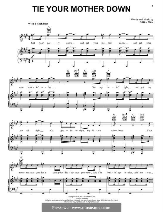 Tie Your Mother Down (Queen): Für Stimme und Klavier (oder Gitarre) by Brian May