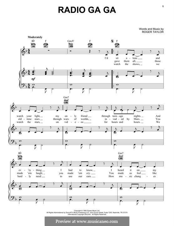 Radio Ga Ga (Queen): Für Stimme und Klavier (oder Gitarre) by Roger Taylor