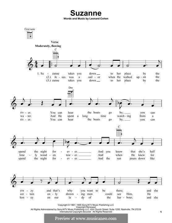 Suzanne: Für Ukulele by Leonard Cohen