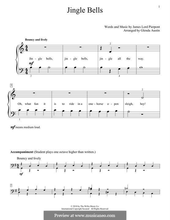 Jingle Bells, für Klavier: Easy version by James Lord Pierpont